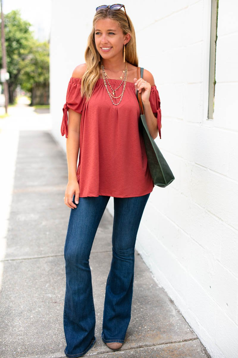Tops Do You Think About Me Rust Off Shoulder Top - Lotus Boutique