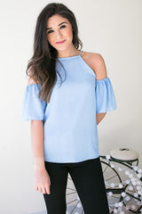 Powder Room Cold Shoulder Top - Blue