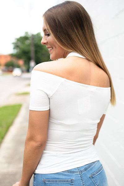 Tops Wildfire Detailed OTS Ivory Top  - Lotus Boutique