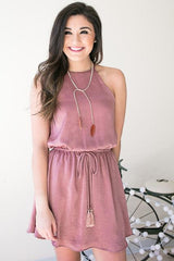 Stairway To Heaven Strappy Neck Dress - Pink