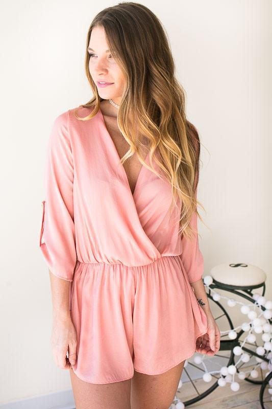 Stolen Dance Satin Romper - Blush-Rompers-Lotus Boutique-Lotus Boutique