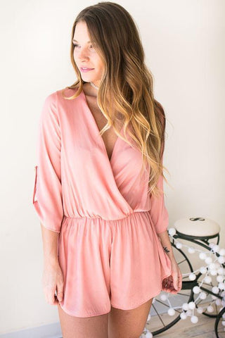 Stolen Dance Satin Romper - Blush