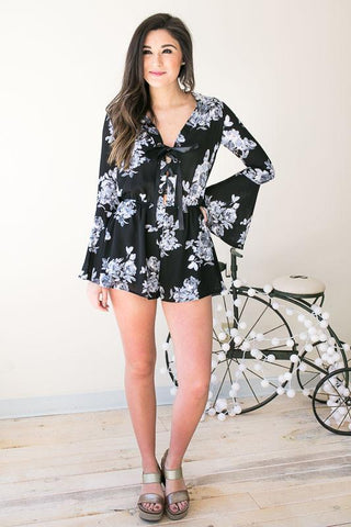Midnight Garden Floral Lace Up Romper