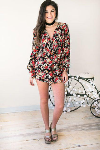 Totally Worth It Floral Romper with Sleeve Detail