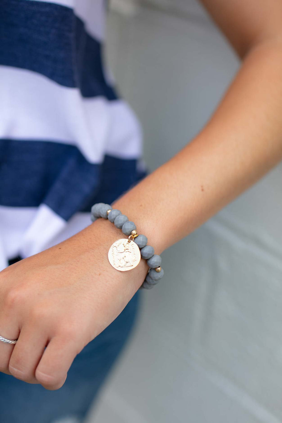 Accessories European Summer Grey Beaded Bracelet - Lotus Boutique