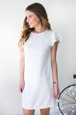 I'm Like A Bird Flutter Sleeve Dress - White