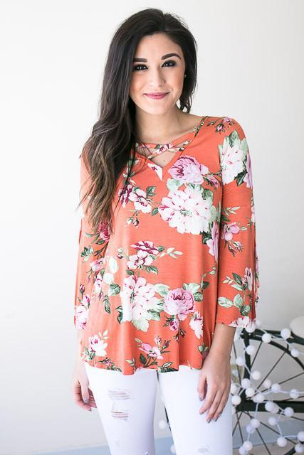 Sing About It Floral Criss Cross Top