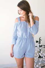 Dapper Dancing Seersucker Romper - Blue