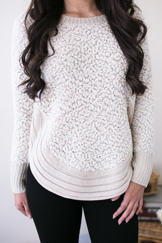 Tops Harvest Moon Fuzzy Sweater - Beige - Lotus Boutique