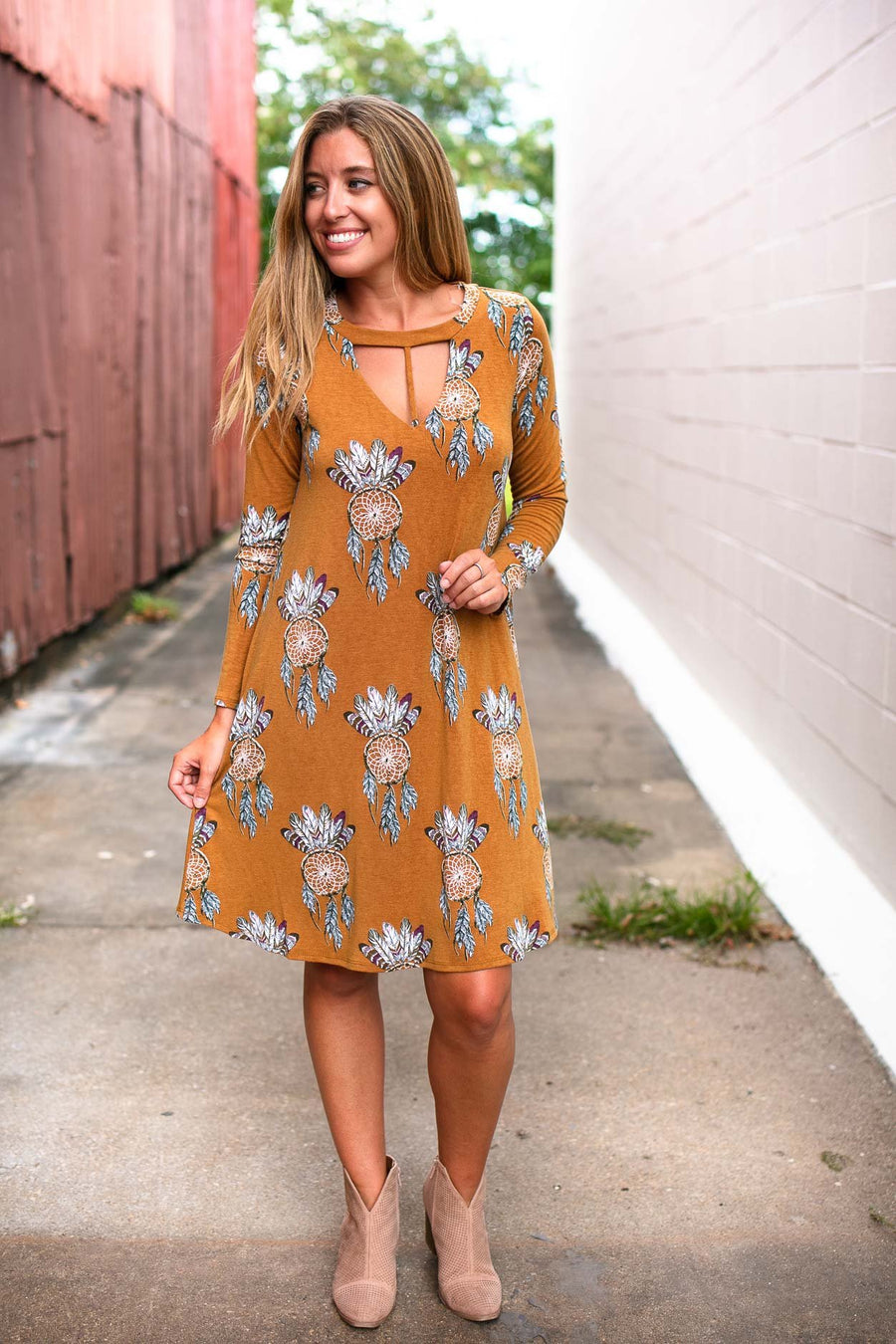Dresses Catching Dreams Mustard Print Dress - Lotus Boutique