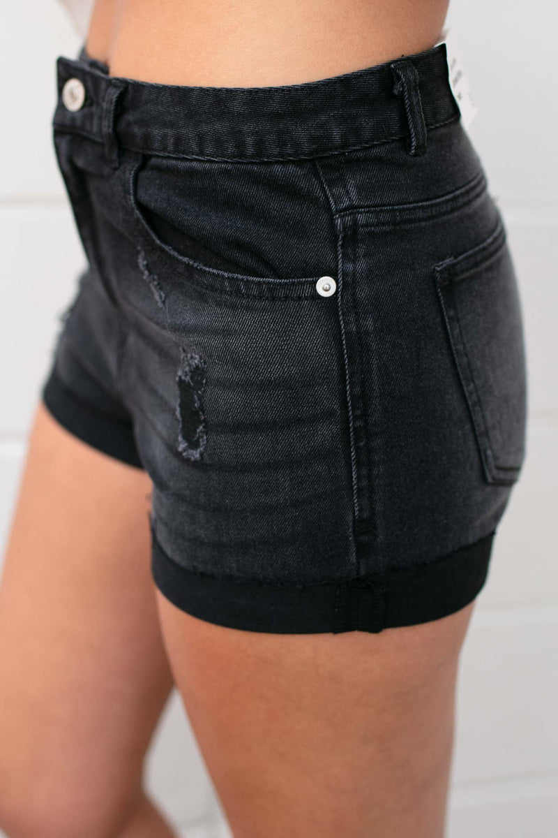 Simplistic Black Denim Shorts