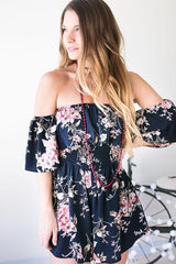 Kissed By the Sky Off Shoulder Floral Romper