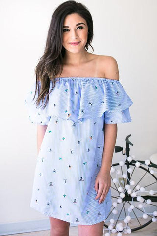 Surf's Up Off Shoulder Ruffle Dress