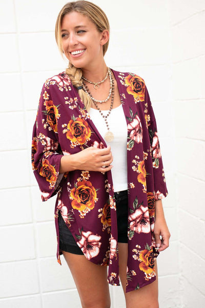 Tops People Change Floral Side Slit Kimono - Wine - Lotus Boutique