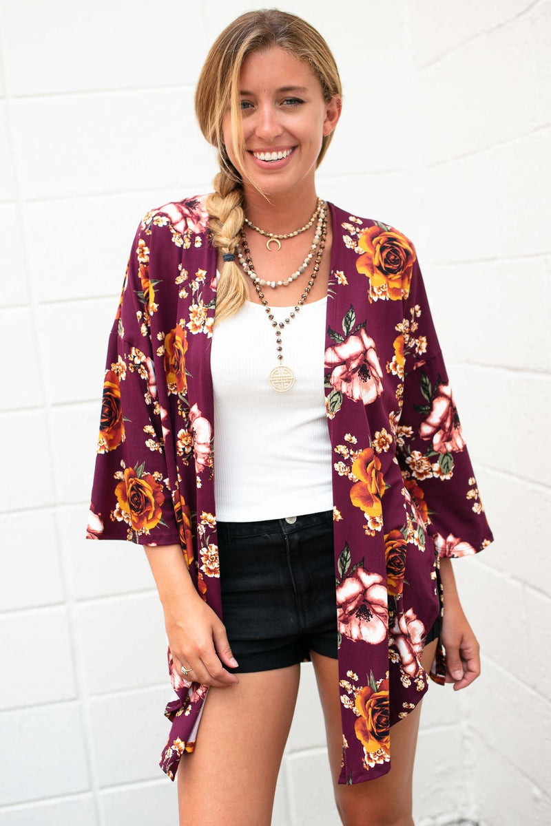 People Change Floral Side Slit Kimono - Wine