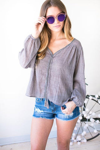 Snazzy Planet Linen Look Top - Grey