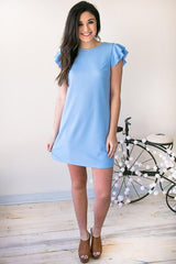 I'm Like A Bird Flutter Sleeve Dress - Sky Blue