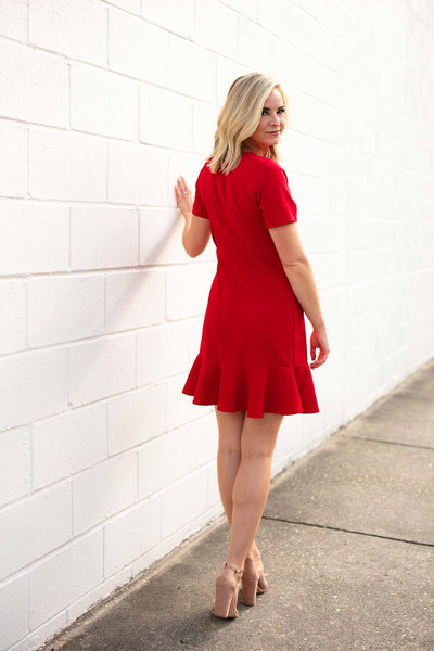 Dresses Start Things New Ruffle Hem Dress - Red - Lotus Boutique
