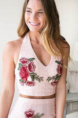 Kiss and Tell Floral Halter Top - Pink