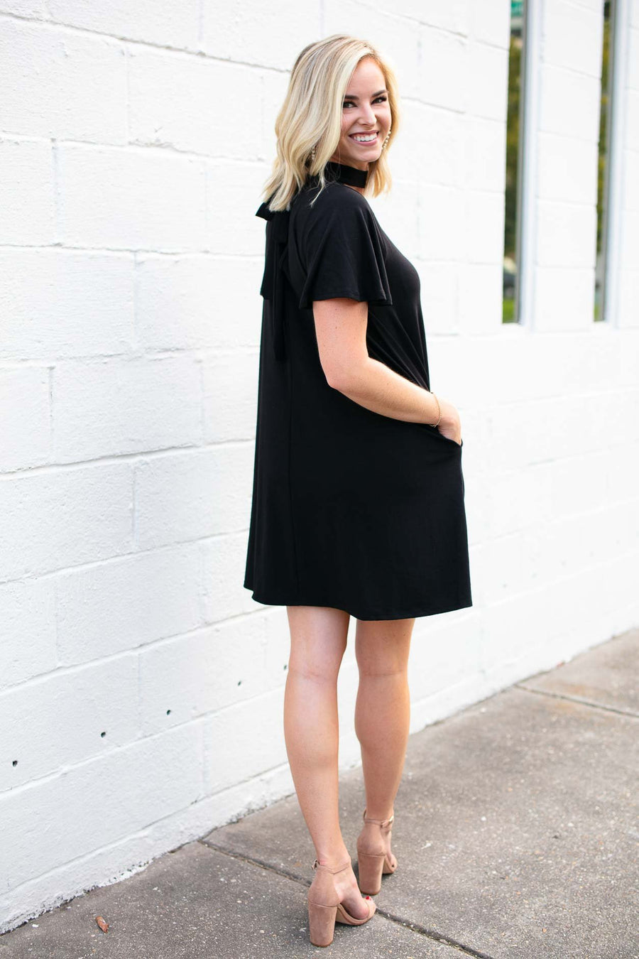 Dresses Hours with You Cut Out Black Dress with Pockets - Lotus Boutique