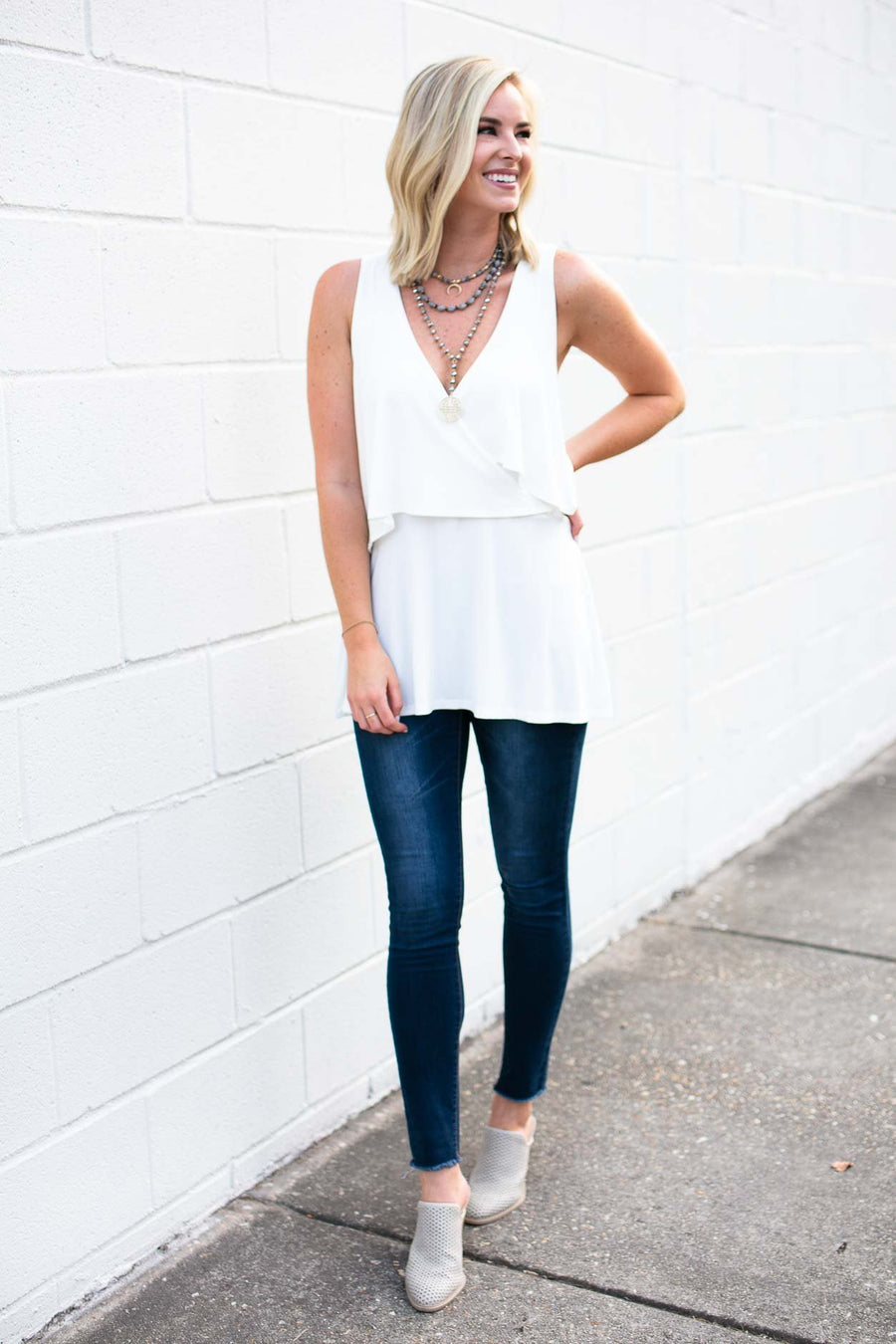 White Double Layer Top