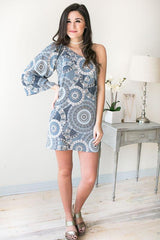 Rewind One Shoulder Print Dress