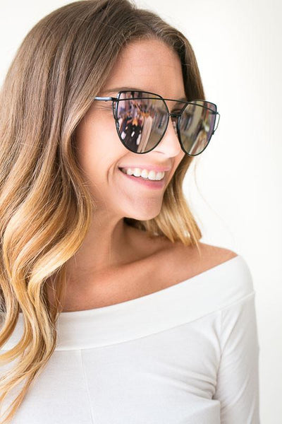 Accessories Reflections Black Rim Mirror Shades - Lotus Boutique