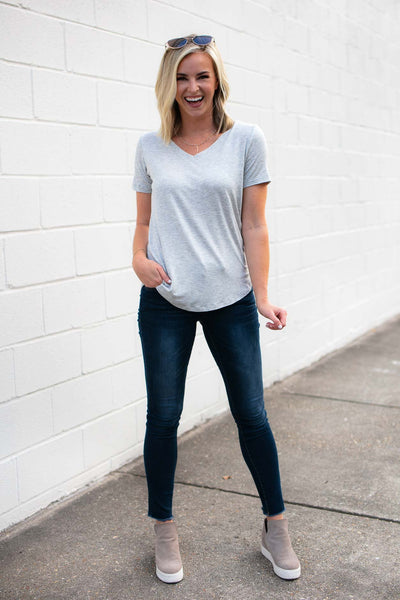Tops Never Enough Basic Grey Everyday T Shirt - Lotus Boutique