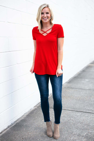 Cross Front Red Top