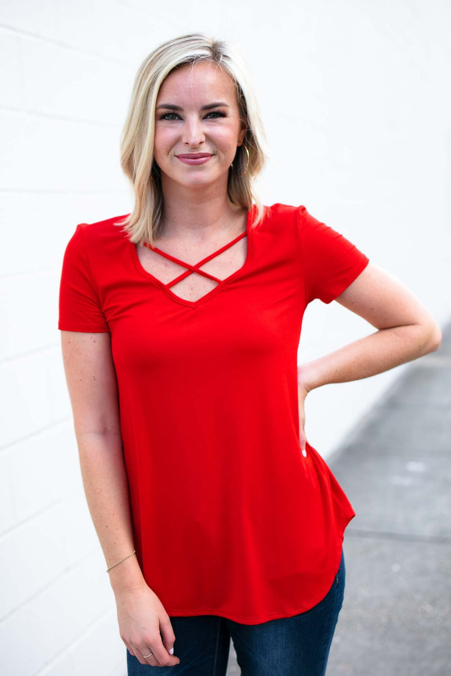 Tops Ready Now Criss Cross Top in Poppy Red - Lotus Boutique
