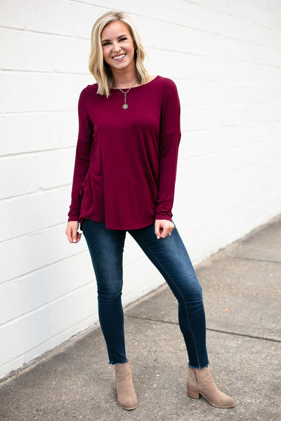 Long Sleeve Wine Open Back Top