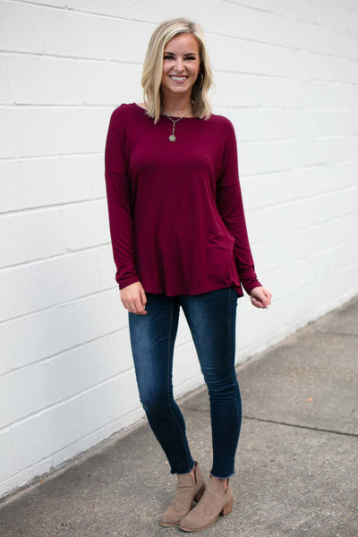 Wine Open Back Long Sleeve Top