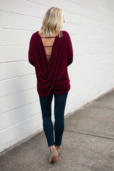 Wine Long Sleeve Open Back Top