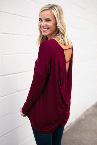 Tops On the Right Track Open Back Top - Lotus Boutique