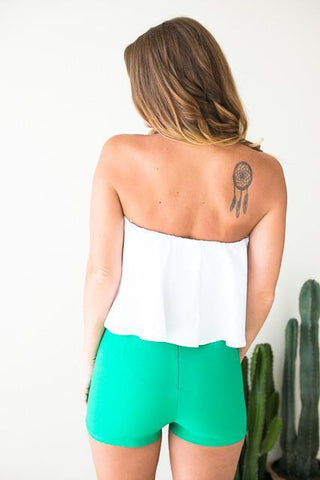 White Noise Strapless Crop Top