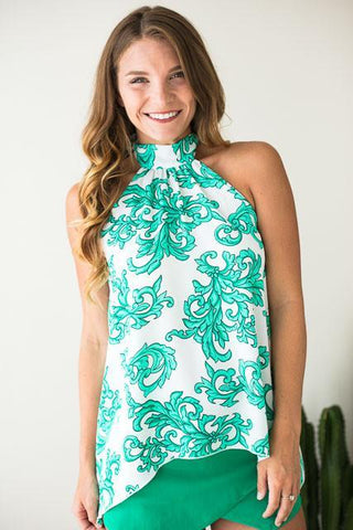 Venice Baroque Choker Neck Green Top
