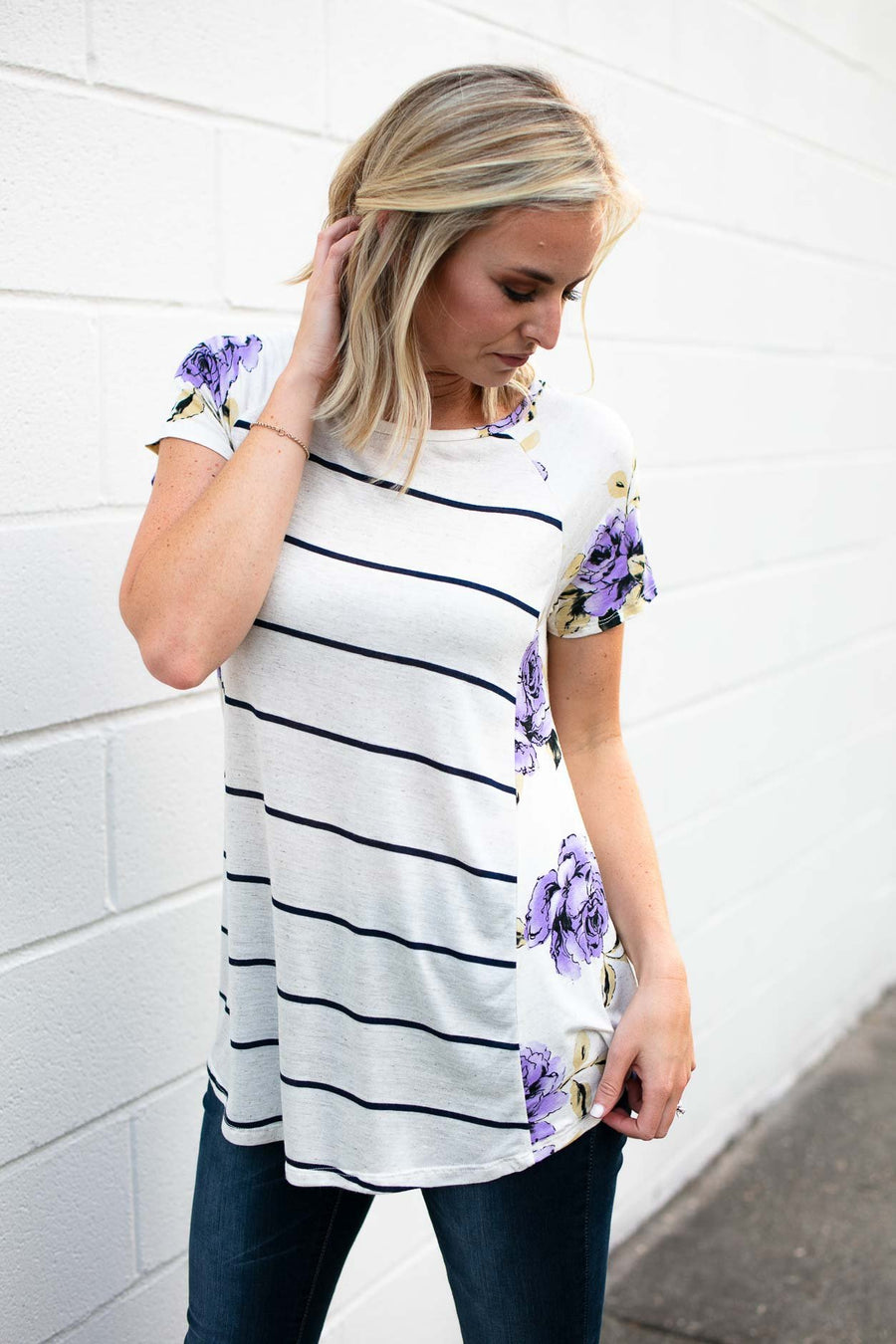 Stripe Floral Detail Top