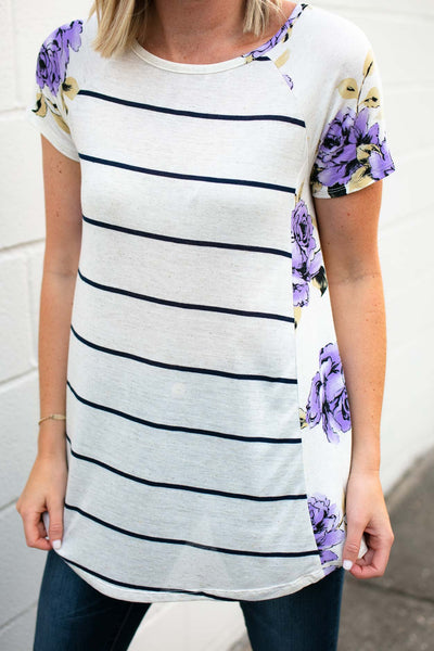 Floral And Stripe Top