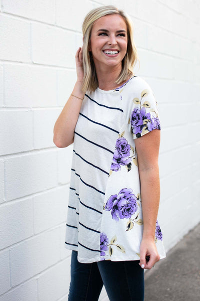 Stripe With Floral Sides Top