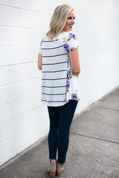 Stripe Top With Floral Sides