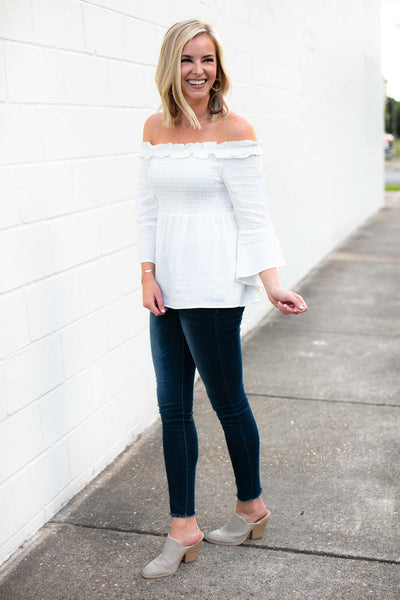 Tops Majoring in OTS Bell Sleeve Smock Top - Lotus Boutique