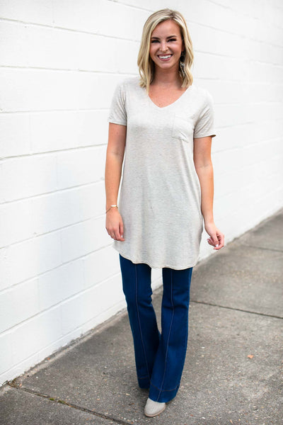 Tops Hearts Beating Oatmeal Tie Up Tunic - Lotus Boutique