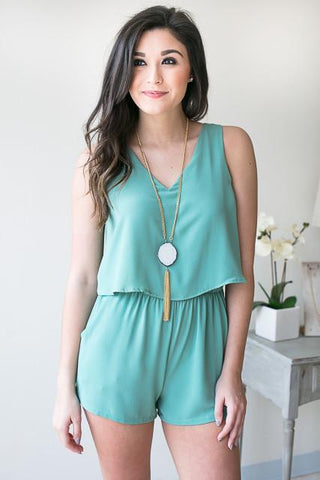 Best of Me V Neck Romper - Green