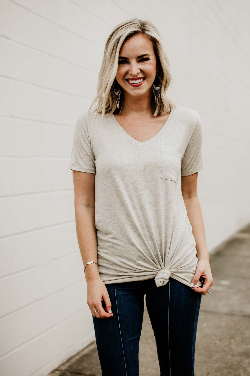Hearts Beating Oatmeal Tie Up Tunic