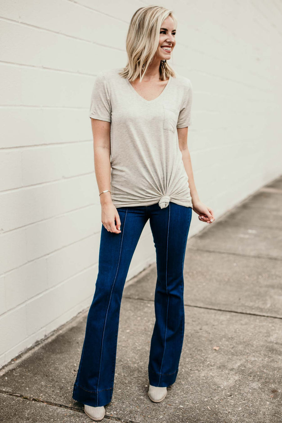 Oatmeal Tie Up Tunic Tee