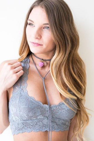 First Rose Grey Lace Bralette