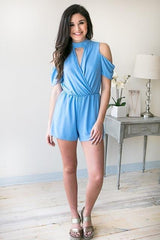 Always Dreaming Choker Neck Romper - Blue