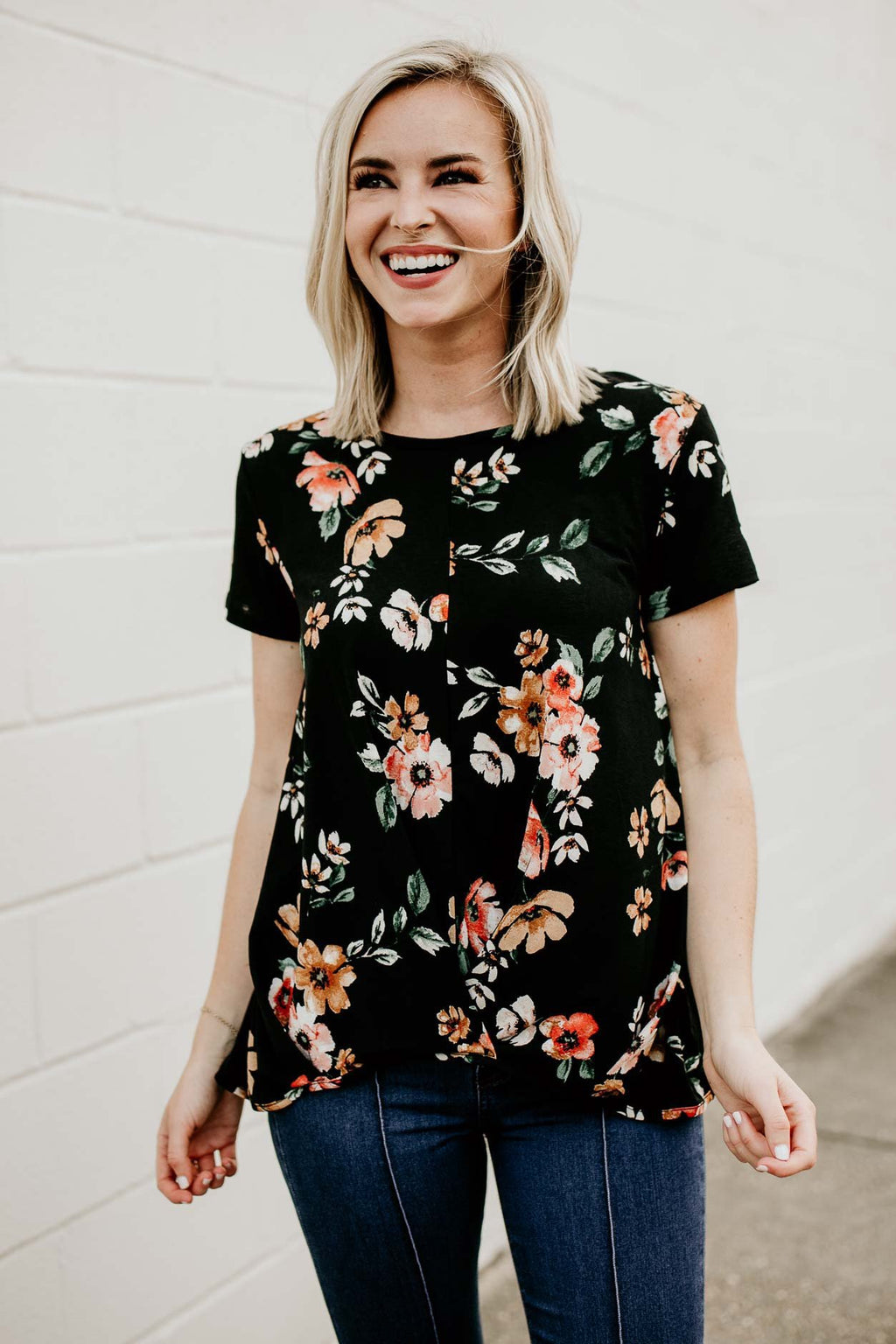 Rosie Gathered Front Floral Top