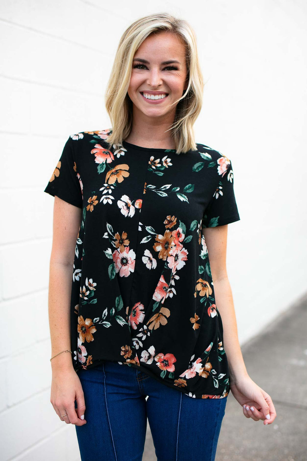 Front Gathered Floral Top