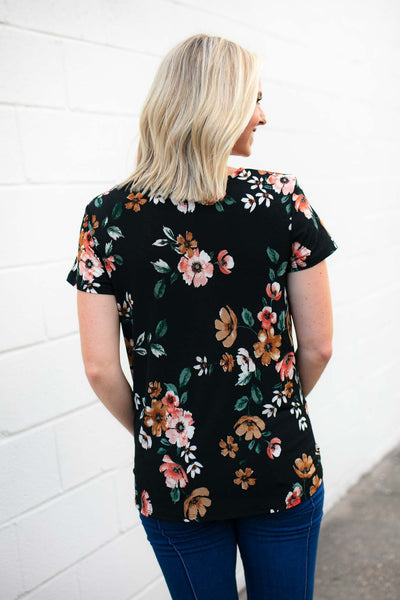 Tops Rosie Gathered Front Floral Top - Lotus Boutique